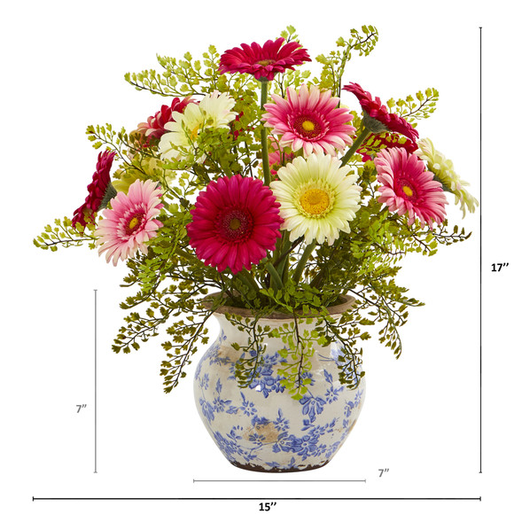 Gerber Daisy and Maiden Hair Artificial Arrangement in Vase - SKU #A1031 - 7
