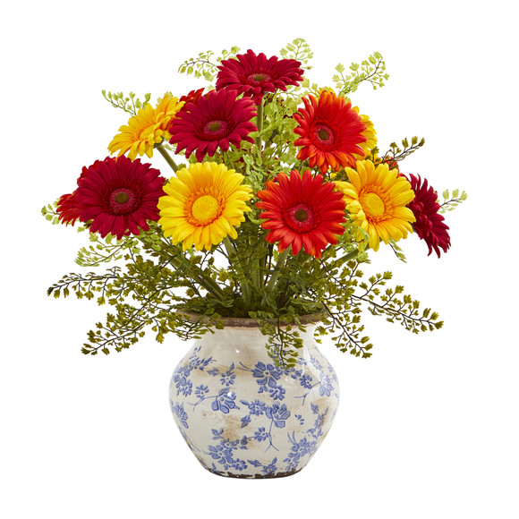 Gerber Daisy and Maiden Hair Artificial Arrangement in Vase - SKU #A1031