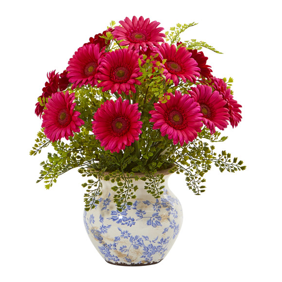 Gerber Daisy and Maiden Hair Artificial Arrangement in Vase - SKU #A1031 - 1