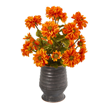Zinnia Artificial Arrangement in Ribbed Metal Planter - SKU #A1032-OG