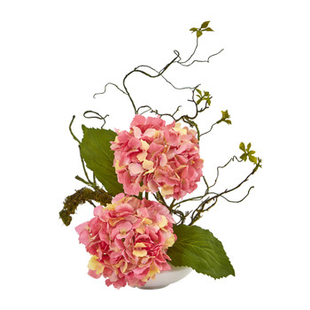 13 Hydrangea Artificial Arrangement in White Vase - SKU #A1033