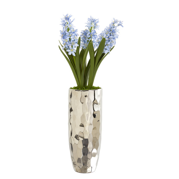 Hyacinth Artificial Arrangement in Silver Vase - SKU #A1034