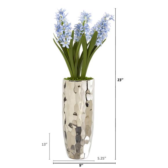 Hyacinth Artificial Arrangement in Silver Vase - SKU #A1034 - 1