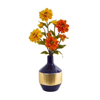 Zinnia Artificial Arrangement in Blue and Gold Designer Vase - SKU #A1035
