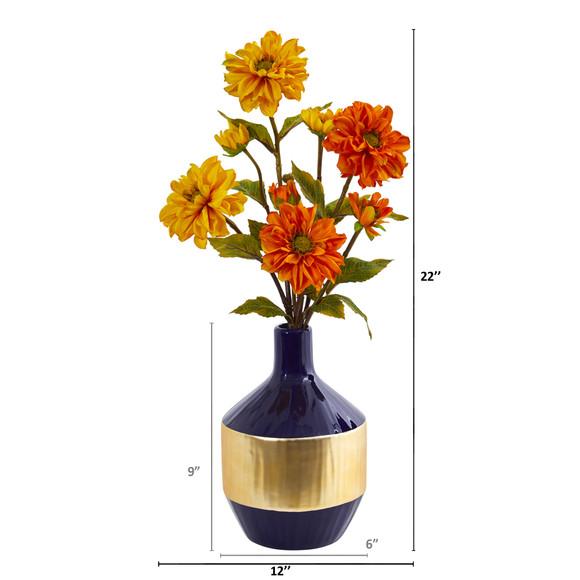 Zinnia Artificial Arrangement in Blue and Gold Designer Vase - SKU #A1035 - 1