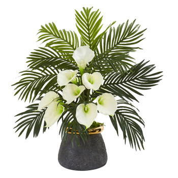 Calla Lilly and Areca Palm Artificial Arrangement in Stoneware Vase - SKU #A1036-CR