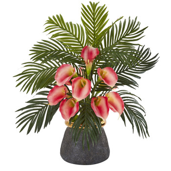 Calla Lilly and Areca Palm Artificial Arrangement in Stoneware Vase - SKU #A1036