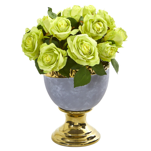 Rose Artificial Arrangement in Urn with Gold Trimming - SKU #A1037 - 2