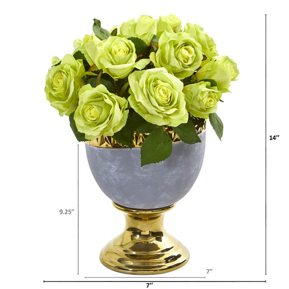 Rose Artificial Arrangement in Urn with Gold Trimming - SKU #A1037 - 3