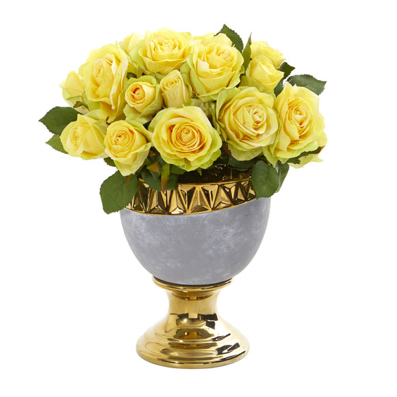 Rose Artificial Arrangement in Urn with Gold Trimming - SKU #A1037