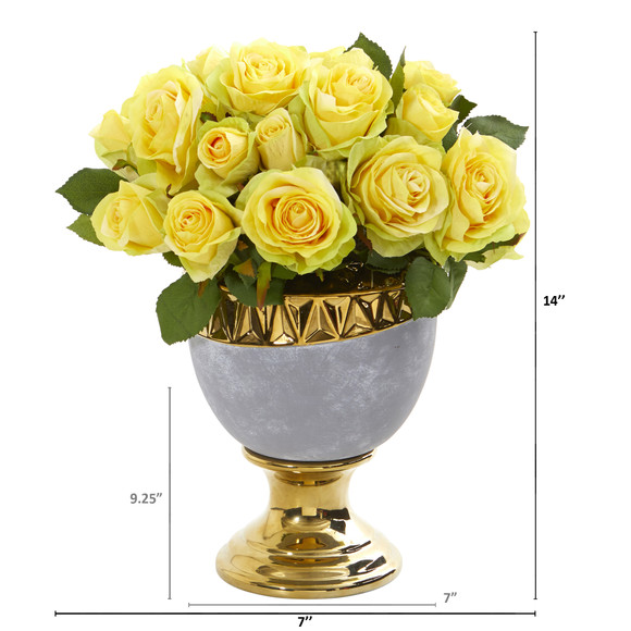 Rose Artificial Arrangement in Urn with Gold Trimming - SKU #A1037 - 1