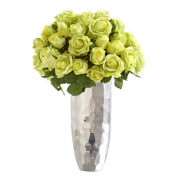 20 Rose Artificial Arrangement in Silver Vase - SKU #A1038 - 4