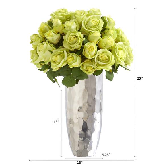 20 Rose Artificial Arrangement in Silver Vase - SKU #A1038 - 5