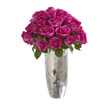 20 Rose Artificial Arrangement in Silver Vase - SKU #A1038
