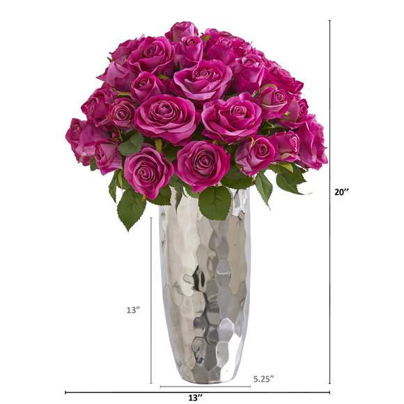 20 Rose Artificial Arrangement in Silver Vase - SKU #A1038 - 1