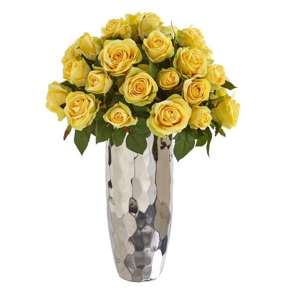 20 Rose Artificial Arrangement in Silver Vase - SKU #A1038 - 2