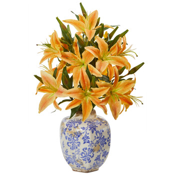 Lily Artificial Arrangement in Decorative Vase - SKU #A1040-OG