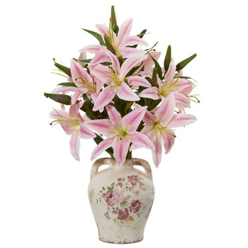 Lily Artificial Arrangement in Floral Jar - SKU #A1041-PK