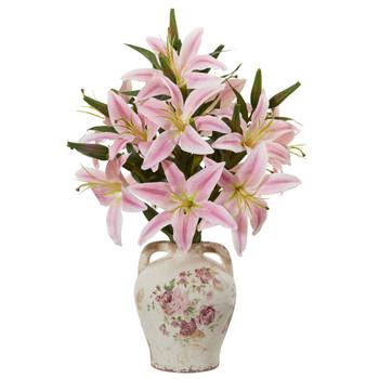 Lily Artificial Arrangement in Floral Jar - SKU #A1041-PK
