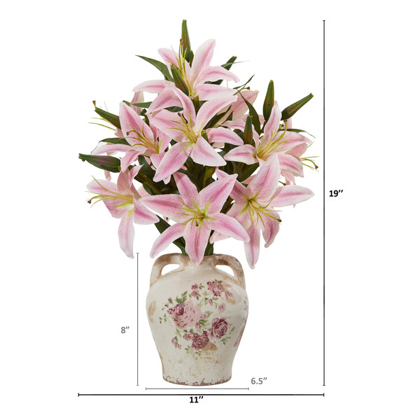 Lily Artificial Arrangement in Floral Jar - SKU #A1041-PK - 1
