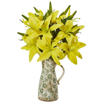 Lily Artificial Arrangement in Floral Pitcher - SKU #A1042-YL