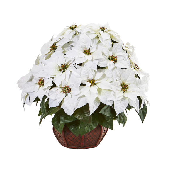 Poinsettia Artificial Arrangement in Decorative Planter - SKU #A1044