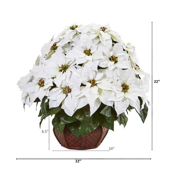 Poinsettia Artificial Arrangement in Decorative Planter - SKU #A1044 - 1