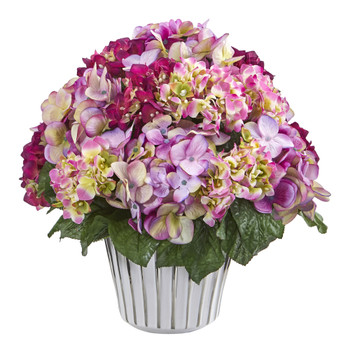 Hydrangea Artificial Arrangement in White Vase Silver Trimming - SKU #A1045-BU