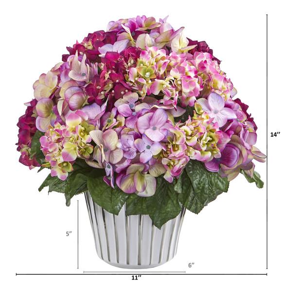 Hydrangea Artificial Arrangement in White Vase Silver Trimming - SKU #A1045-BU - 1