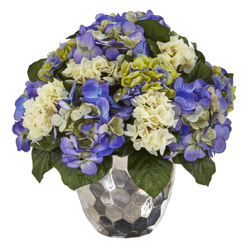 Hydrangea Artificial Arrangement in Silver Vase - SKU #A1046-BP
