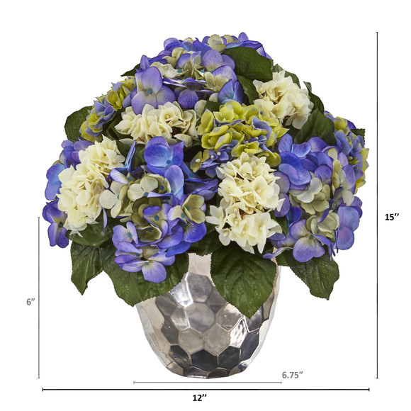 Hydrangea Artificial Arrangement in Silver Vase - SKU #A1046-BP - 1