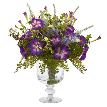 Morning Glory Artificial Arrangement in Royal Glass Urn - SKU #A1047