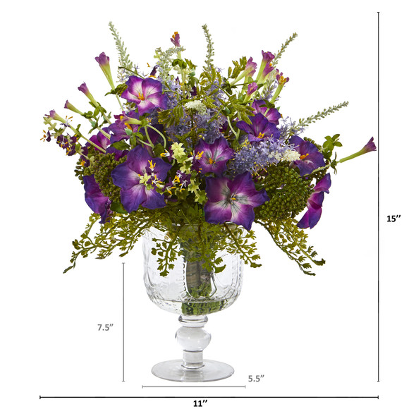Morning Glory Artificial Arrangement in Royal Glass Urn - SKU #A1047 - 1