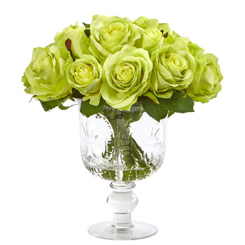 Rose Artificial Arrangement in Royal Glass Urn - SKU #A1048-GR