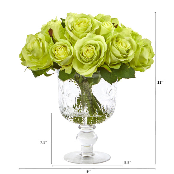 Rose Artificial Arrangement in Royal Glass Urn - SKU #A1048 - 5