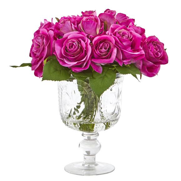 Rose Artificial Arrangement in Royal Glass Urn - SKU #A1048