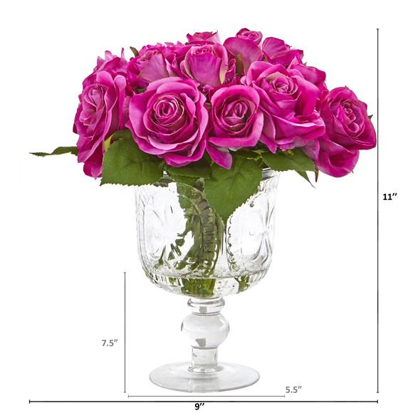 Rose Artificial Arrangement in Royal Glass Urn - SKU #A1048 - 1