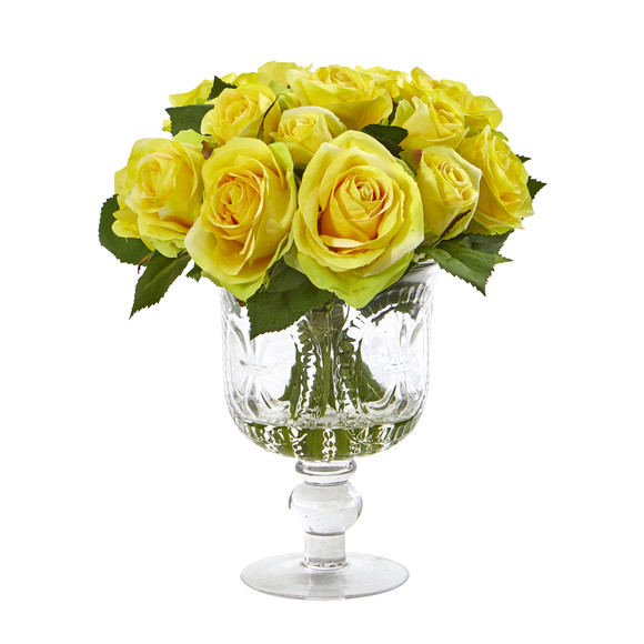Rose Artificial Arrangement in Royal Glass Urn - SKU #A1048 - 2