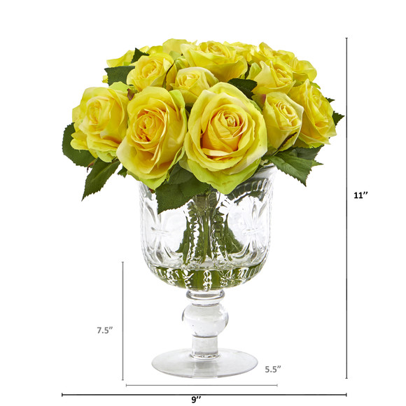 Rose Artificial Arrangement in Royal Glass Urn - SKU #A1048 - 1