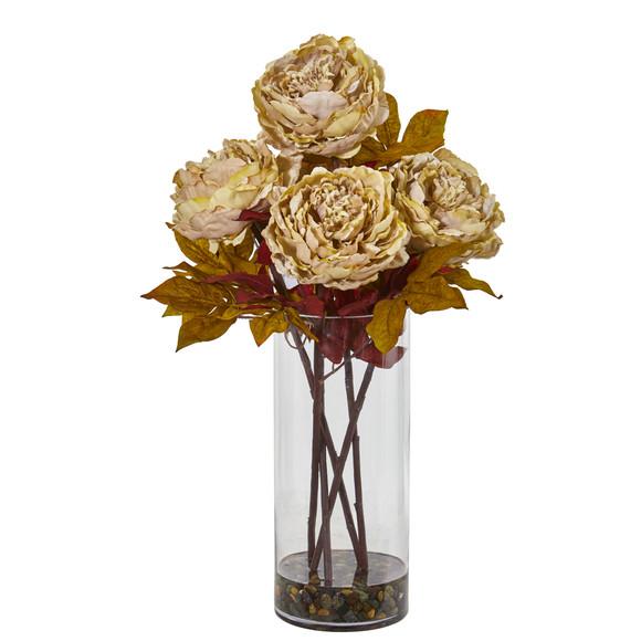 Peony Artificial Arrangement in Glass Vase - SKU #A1049 - 4