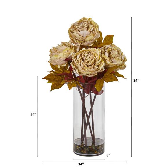 Peony Artificial Arrangement in Glass Vase - SKU #A1049 - 5