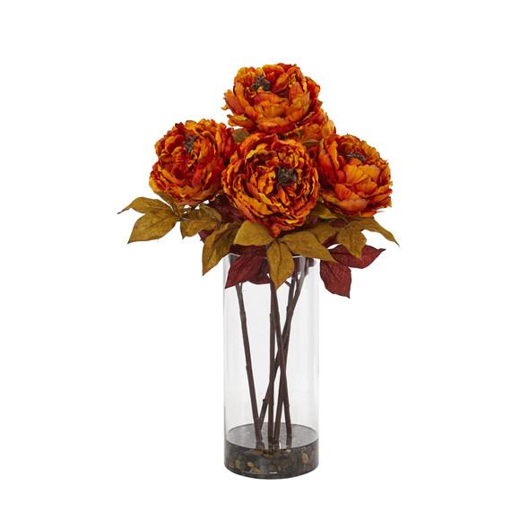 Peony Artificial Arrangement in Glass Vase - SKU #A1049 - 6