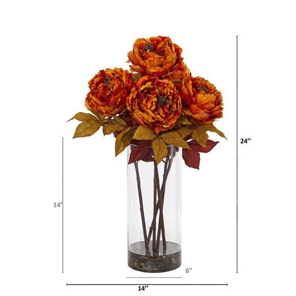Peony Artificial Arrangement in Glass Vase - SKU #A1049 - 7