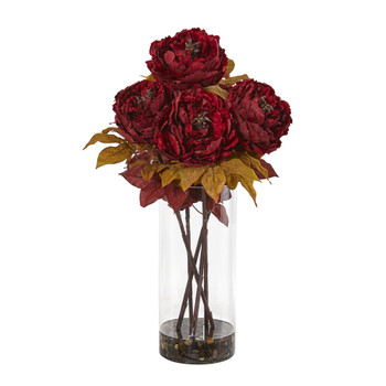 Peony Artificial Arrangement in Glass Vase - SKU #A1049