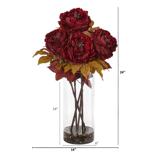Peony Artificial Arrangement in Glass Vase - SKU #A1049 - 1