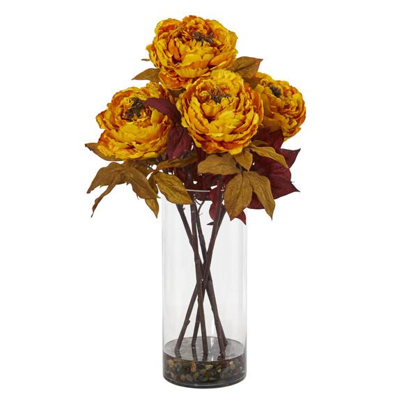 Peony Artificial Arrangement in Glass Vase - SKU #A1049 - 2