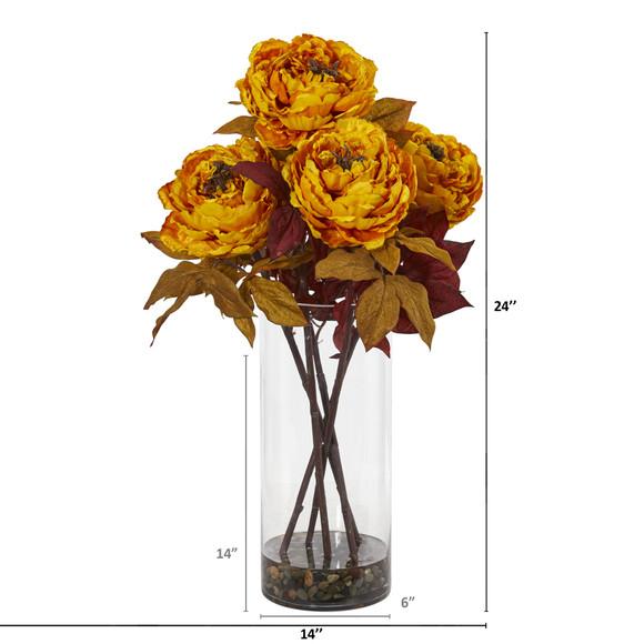 Peony Artificial Arrangement in Glass Vase - SKU #A1049 - 3