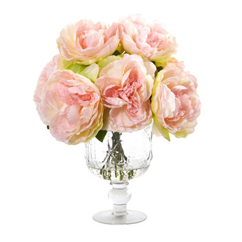 Peony Artificial Arrangement in Royal Glass Urn - SKU #A1050-PK