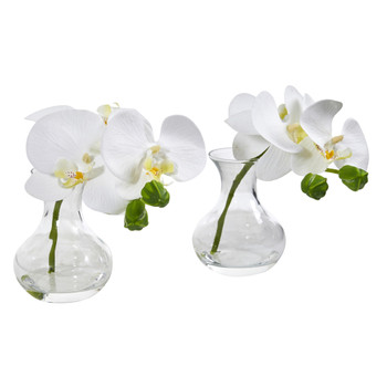 Phalaenopsis Orchid Artificial Arrangement in Vase Set of 2 - SKU #A1051-S2