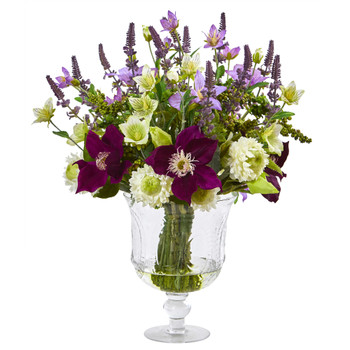 Mixed Flower Artificial Arrangement in Royal Urn - SKU #A1052